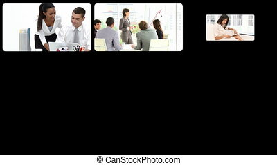 Smiling businesswomen working - Montage of smiling...