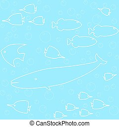 Marine seamless pattern with fish and whale silhouettes