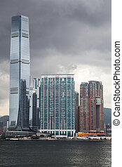 International Commerce Centre seen from Victoria Harbour,...