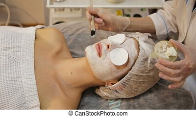 Face mask being applied during spa treatment