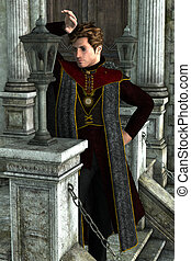 Dark handsome king - 3d illustration of a handsome prince...