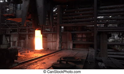 Move the red-hot billet - Stages of the steel plant for the...
