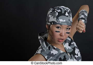 Asian woman in military uniform