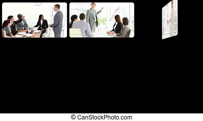 businesspeople doing presentation - Montage showing...
