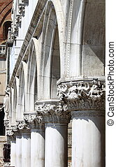Colonnade of Doge Palace in Venice, Italy