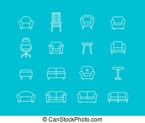 Furniture vector icons - Collection of furniture icons Icons...