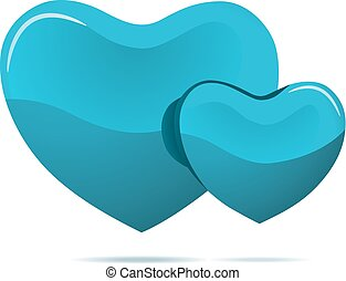 Two cyan hearts isolated on white background