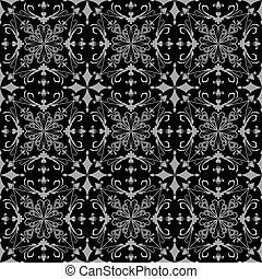Seamless black and grey floral ornate vector wallpaper...