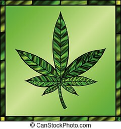 Green Cannabis Leaf - Stunning cannabis leaf in...