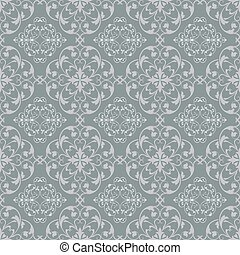 Grey blue seamless vintage vector wallpaper pattern.