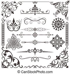 Vintage calligraphic vector design elements isolated on...