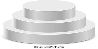 Three step white round podium isolated on white background.