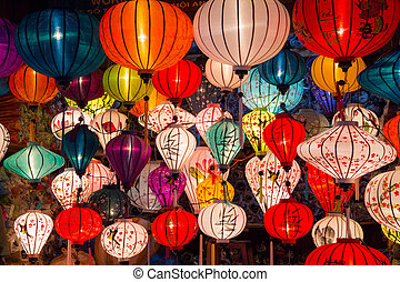 Paper lanterns on the streets of old Asian town - Paper...