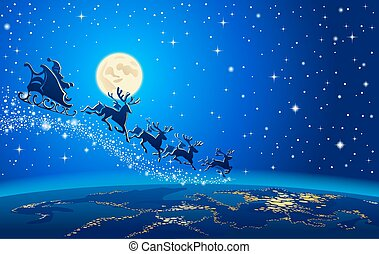 Christmas Santa Closer to the Earth - Santa Sleigh...