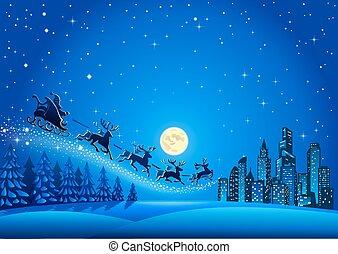 Christmas Santa Descending to the Big City - Santa Sleigh...