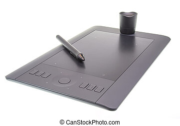 Graphic tablet - Isolated graphic tablet with touch pad and...