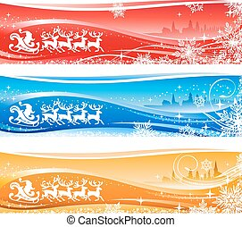Santa Sleigh Christmas Background