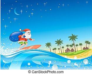 Christmas Santa on the Wave