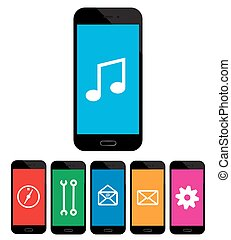 colored mobile phone icons on white background