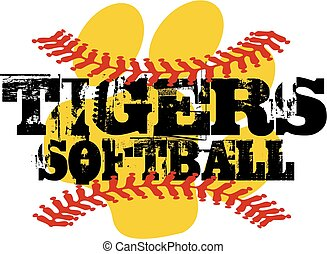 tigers softball - distressed tigers softball team design...