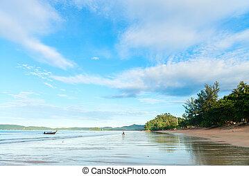 Tropical log wide shallow coastline tropical beach - Idyllic...