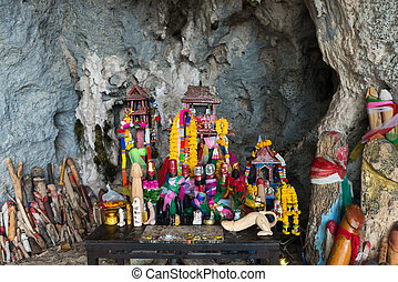 Princess cave Krabi full of phallic symbol offerings -...