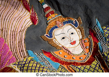 Beautiful Burmese cloth embroidery - Burmese traditional...