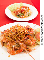 Thai food cuisine fresh exotic fried shrimp delicacy -...