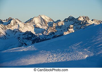 Pyrenees - Peaks at sunset in Pyrenees, France
