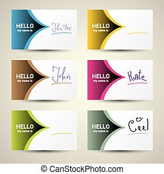 Hello My Name Is Name Tag Set Vector Business card set