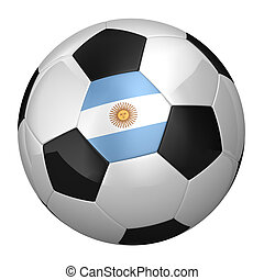 Argentinian soccer ball isolated over white background