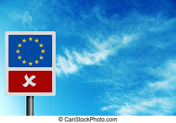 Political issues series: \'No to the EU\' concept. Photo...