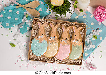 family holiday present box, gift card,  easter rabbits honey-cake