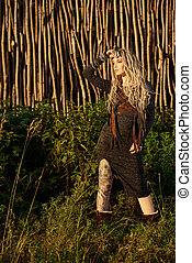 bohemian clothes - Attractive young woman wearing clothes in...