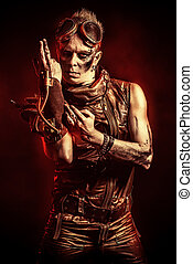 cyberpunk - Portrait of a steampunk man with a mechanical...