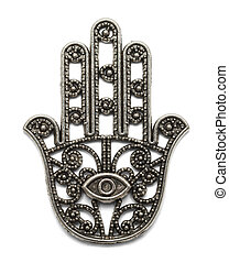 Hamsa - Hand Amulet with All Seeing Eye Isolated on White...
