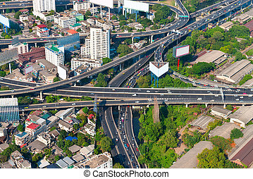 Overlooking Shot of a Complex Urban Highway Interchange -...