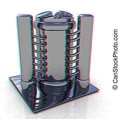 Abstract chrome metal pressure vessel 3D illustration...