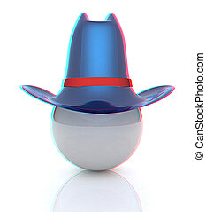 3d blue metallic hats on white ball. Sapport icon. 3D illustration. Anaglyph. View with red/cyan glasses to see in 3D.