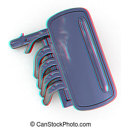 Exhaust system 3D illustration Anaglyph View with redcyan...