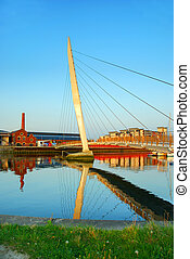 The River Tawe in Swansea, UK - The River Tawe and Sail...