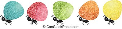 Ants carrying gumdrops - Scalable vectorial image...
