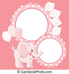 Baby elephant pink scrapbook frame - Scalable vectorial...