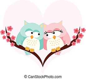 Owls couple in love on background