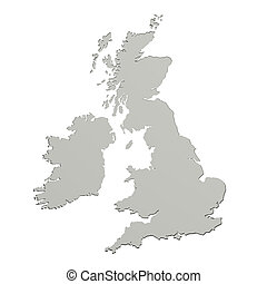 United Kingdom map - 3d rendering of a United Kingdom map on...