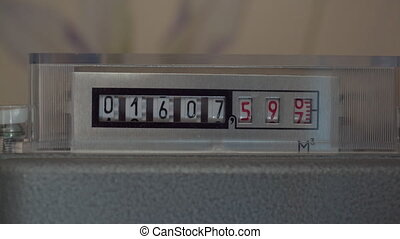 counter shows the amount of gas consumed in cubic meters