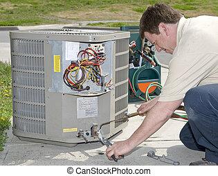 AC Repairman Fixes Air Conditioner - AC Repairman Welds...
