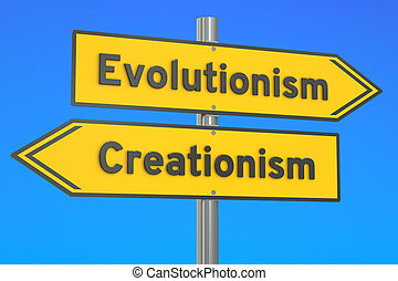 evolutionism vs creationism concept on the signpost, 3D...