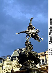 Statue of Eros at Picadilly Circus, London. - Statue of Eros...