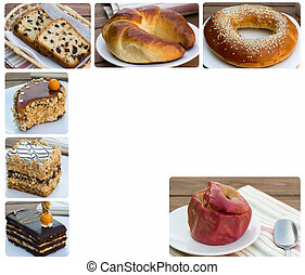 cakes and baked apple with oatmeal - collage set of photos...